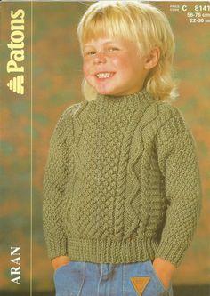 Child's Crew Neck Sweater in Aran Yarn 22 Knitting Pattern Patons 8141