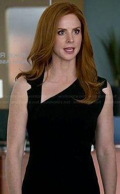 Donna's black asymmetric neckline dress on Suits.  Outfit Details: http://wornontv.net/46176/ #Suits