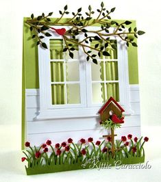Spring Window and Birdhouse Love how Kitty created the look of siding, the drapes, and the finished window frame on the inside. Her attention to detail makes her work so stunning. Cute Cards, Diy Cards, Pretty Cards, Memory Box Cards, Karten Diy, Window Cards, Window Frames, Window Ideas, 3d Quilling