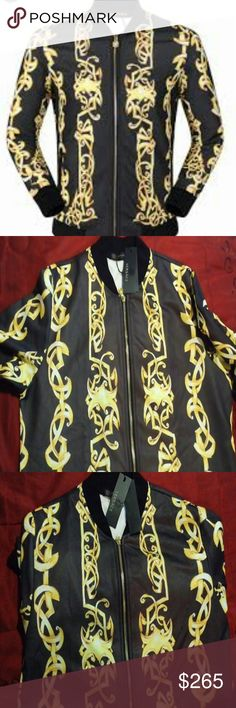 Versace baroque jacket Versace baroque jacket that is detailed with multi color gold cross pattern flames and the baroque finish , luxurious body fitting cotton material.  Tags and s accessories come with it. Versace Jackets & Coats Lightweight & Shirt Jackets