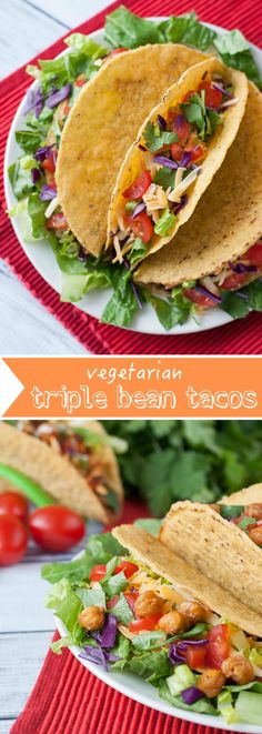 Triple Bean Tacos :: Seasoned black beans, pinto beans, and crunchy taco-roasted chickpeas team up to take your taco game to the next level!