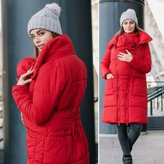 various sizes Red maternity coat warm wool mix maternity coat