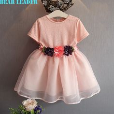 US $10.95 Bear Leader Gril Dress 2016 Brand Princess Dresses Girls Clothes Pink Floral Design for Kids Clothes Party Dresses 3-7Y aliexpress.com