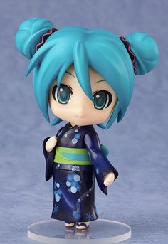 The same cute Miku we've all come to love is wearing a dark blue yukata with beautiful flower prints scattered along it, creating a very refreshing version of Miku for the hot summer months! Description from nekomagic.com. I searched for this on bing.com/images
