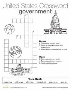 Worksheets: Government Crossword