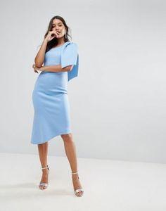 Asos Scuba One-Shoulder Big Bow Peplum Midi Dress Blue Party Dress, Prom Dresses Blue, Cute Dresses, Evening Dresses, Short Dresses, Dresses For Work, Party Dresses, Peplum Midi Dress, Asos Dress
