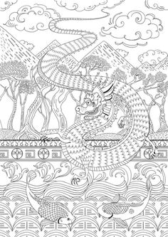 Dragon by Pimlada Phuapradit #adult #colouring