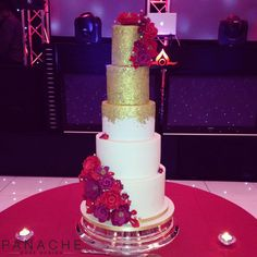 indian wedding cakes Asian wedding cakes sequins sugar flowers roses peonies contemporary London purple gold traditional beautiful grand cake elegant