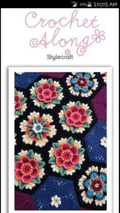 FRIDA'S FLOWERS BLANKET CAL (crochet along) 2016 BY JANIE CROW ( Free Pattern is on Stylecraft Yarn Website *under CALs)
