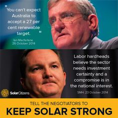It looks like the government and Labor are heading towards a compromise in negotiations that will see the Renewable Energy Target severely cut.  CALL the 6 negotiators at their Parliament House offices now before their next meeting today and tell them Australians don't want a compromise and want the Renewable Energy Target kept in full.  - Ian Macfarlane - 6277 7070 - Greg Hunt - 6277 7920 - Joe Hockey - 6277 7340 - Mark Butler - 6277 4089 - Gary Gray - 6277 4913 - Chris Bowen - 6277 4822