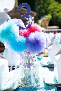Tulle Pom Pom Centerpiece from a Turquoise & Purple Modern Glam Frozen Birthday Party via Kara's Party Ideas KarasPartyIdeas.com (25)