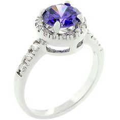 Tanzanite Crown  White Gold Rhodium bonded with Pave Round Cut Clear CZ Flanking a Large Tanzanite Round Cut Centerpiece, Fashion Ring in Silvertone.