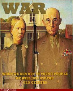American Gothic Painting in War Uniforms