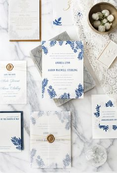 Blue and Gold Fern Wedding Invitations by Hello Tenfold / Oh So Beautiful Paper *** Details can be found by clicking at the image Wedding Invitations With Pictures, Botanical Wedding Invitations, Wedding Invitation Inspiration, Watercolor Wedding Invitations, Elegant Wedding Invitations, Wedding Stationary, Wedding Paper, Wedding Cards, Wedding Gifts