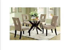 5 Piece Bay Round Dining Set Chairs Table Home Decor Furniture Glass Table
