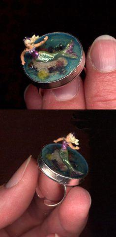 Miniature Mermaid Scene Ring by Sheila A. Nielson
