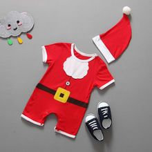 2016 Baby Boy Clothes New Born Fashion Kids Toddler Infant Boys Girls Christmas Romper+Hat Outfits Clothes Cotton Baby Sets(China (Mainland))