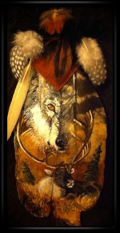 Art by Cindy Weitzel Feather Painting, Feather Art, American Indian Art, Native American Art, Wolf Spirit Animal, Turkey Feathers, Feather Crafts, Hand Art, Indigenous Art