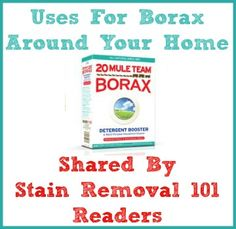 Lots of uses for borax around your home for cleaning, laundry, stain removal, pest control and more {on Stain Removal 101}