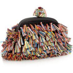 Dolce & Gabbana Dea raffia-tasseled woven clutch (2.075 BRL) ❤ liked on Polyvore featuring bags, handbags, clutches, woven purse, multi color handbag, raffia clutches, colorful purses and chain strap purse