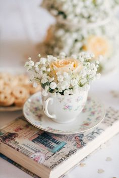 Vintage Cup Flowers Rose Book Gypsophila Baby Breath Whimsical Peach Afternoon Tea Party Wedding http://clairemacintyre.com/