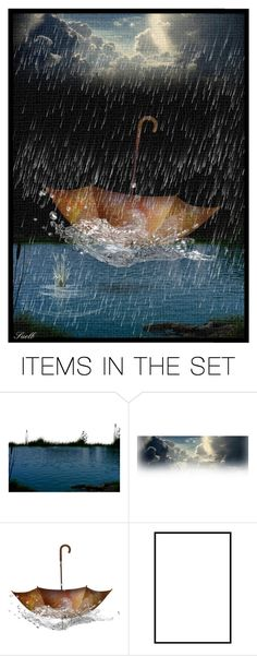 """Umbrella in the rain"" by suelb ❤ liked on Polyvore featuring art, artset, artgallery and artexpression"