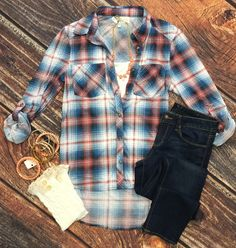 What I like about you Plaid Flannel top  in Blue/Rose can be worn as long sleeves or a 3/4 top. It is so very soft and comfy! This is a soft stretchy awesome ma