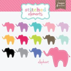 Stitched Elephant Digital Clipart  13 Pieces for by sugarstudios, $4.00