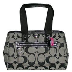Coach Hamptons Signature Carryall Bag Purse Tote 14878 Black White