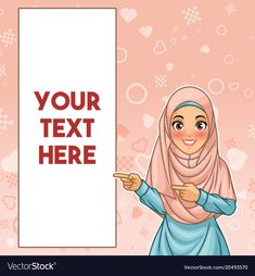 Muslim woman pointing finger to the right side vector image on VectorStock Student Cartoon, Teacher Cartoon, Free Online Resume Builder, Logo Ig, Assalamualaikum Image, Blackboard Chalk, Islamic Posters, Emoji Images, Food Logo Design