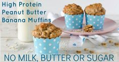 These High Protein Crazy Banana Muffins are perfect for before school or before practice.  Our kids just aren't big breakfast eaters, but they will eat a muffin or two in the morning and they love to eat these before football, soccer or wrestling practice. They like my favorite banana bread with whipped honey butter, too, but these muffins...