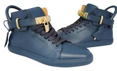 online store 53bc5 20858 BUSCEMI MENS 100MM BLUE GOLD LOCKS LOCK HIGH TOP TOPS SNEAKERS SHOES 40  US  7