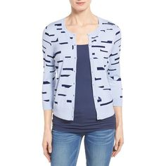 Halogen Three Quarter Sleeve Cardigan ($46) ❤ liked on Polyvore featuring tops, cardigans, petite, button front cardigan, three quarter sleeve cardigan, j.crew cardigan, 3/4 length sleeve tops and crewneck cardigan