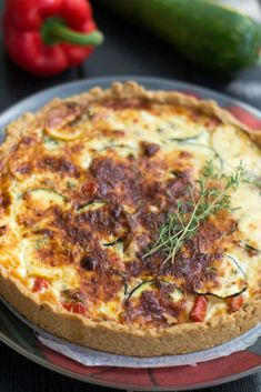 Vegetable Pizza, Quiche, Pie, Vegetables, Cooking, Breakfast, Food, Cupcakes, Red Peppers