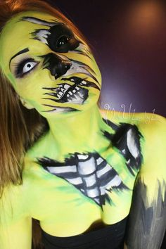 Pop art or cartoon style zombie makeup for Halloween. I love that the makeup job can be the whole costume!