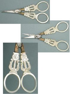 Antique French Palais Royal Mother-of-Pearl Scissors; Circa 1820