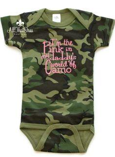 Baby Girls Camo Outfit - Camouflage - Pink - Daddy - Hunting - Bodysuit - Creeper - Baby Shower Gifts - Funny Baby Girls Clothing