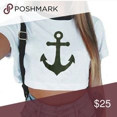 Nautical Anchor Crop Top 😎☉⚓⛵ Get ready for summer with this adorable crop top. Tops Crop Tops