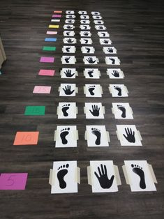 Hand,Feet Hopscotch My kiddos in class loved this activity Indoor Games For Kids, Fun Indoor Activities, Activities For Kids, Crafts For Kids, Family Party Games, Birthday Party Games For Kids, Family Game Night, Hand Games, Foot Games