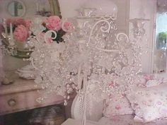 vintage shabby decor | Shabby Chic Home Decor and Vintage Finds Rhinestone Clock Chandelier ...