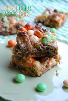 Carrot Cake Magic Bars -- use the seasonal carrot cake M&M's to jazz these yummy bars up! #carrotcake #easter #bars #gooey