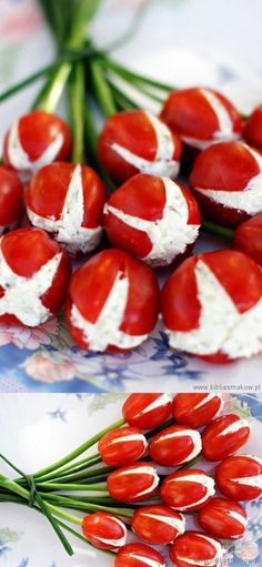 Great for any event ocasión Tomates finger food design Cute Food, Good Food, Yummy Food, Yummy Snacks, Snacks Für Party, Party Appetizers, Tomato Appetizers, Food Decoration, Appetisers