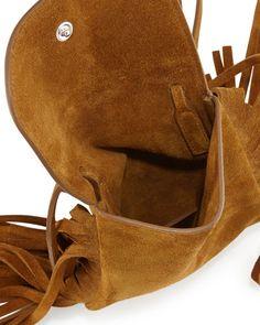 Yves Saint Laurent Anita Mini Flat Shoulder Bag w/Fringe, Tan ...