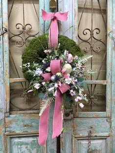 Christmas Swags, Christmas Door Decorations, Moss Wreath, Grapevine Wreath, Wreaths For Front Door, Door Wreaths, Summer Wreath, Spring Wreaths, Purple Wildflowers