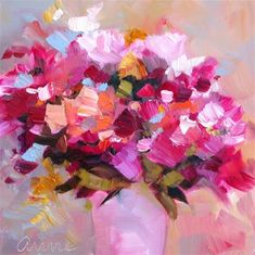 Daily Paintworks - I was thinking of you - Original Fine Art for Sale - Anne Ducrot Jar Art, Arte Floral, Abstract Flowers, Beautiful Paintings, Flower Art, Decoupage, Art Projects, Fine Art, Crafts