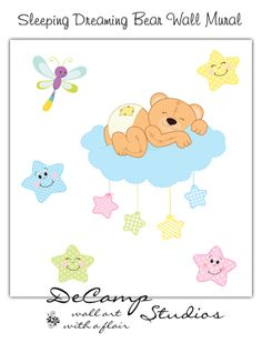 Sleeping Teddy Bear Wall Mural Decal for baby boy or girl nursery. Floating on a cloud surrounded by the night stars and bug, little bear sleeps snuggly on a cloud #decampstudios