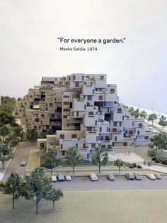 """Photo from the exhibition """"Global Citizen: The Architecture of Moshe Safdie"""" at National Academy Museum in New York. Habitat 67, Montreal, Canada, 1967"""