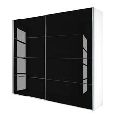 Schwebetürenschrank Quadra - Alpinweiß / Glas Schwarz - Breite x Höhe: 226 x 230 cm, Rauch Packs
