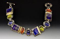 Laurie MacAdam bracelet -  Boulder Opal, Hessonite Garnet, Iolite, Peridot Sterling Silver and 14 Karat Gold