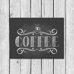 Un dulce y simple café impresión! Ilustré esta impresión de pizarra con la palabra Café escrito en tipografía tiza fabuloso. Hay algunos